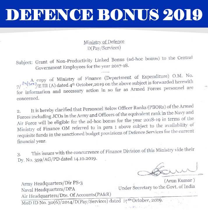 Defence Bonus 2019