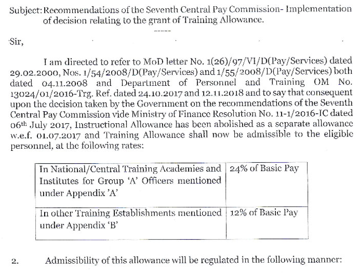 7th Central Pay Commission Training Allowance