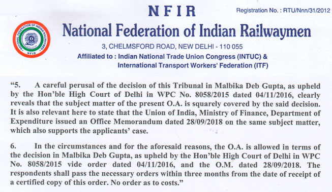 Rejection of 6th CPC minimum pay Senior Nursing Superintendents on Railways