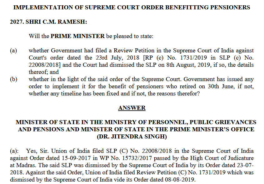 Supreme Court Order Benefit of pensioners