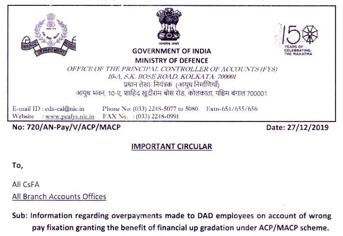 DAD employees MACP Scheme Defence