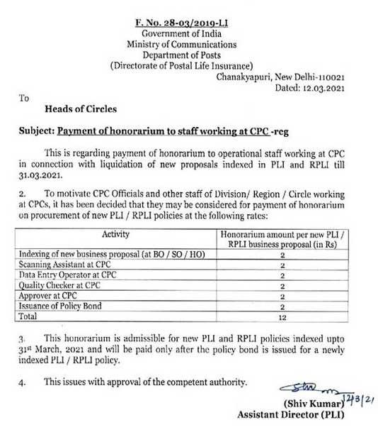 Honoraria paid to CPC operational personnel - Honoraria per new PLI / RPLI company plan - DoP