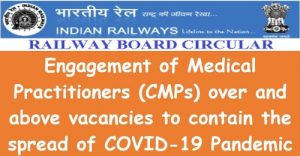 Over and above vacancies, Medical Practitioners (CMPs) are hired: 28.04.2021 Order of the Railway Board