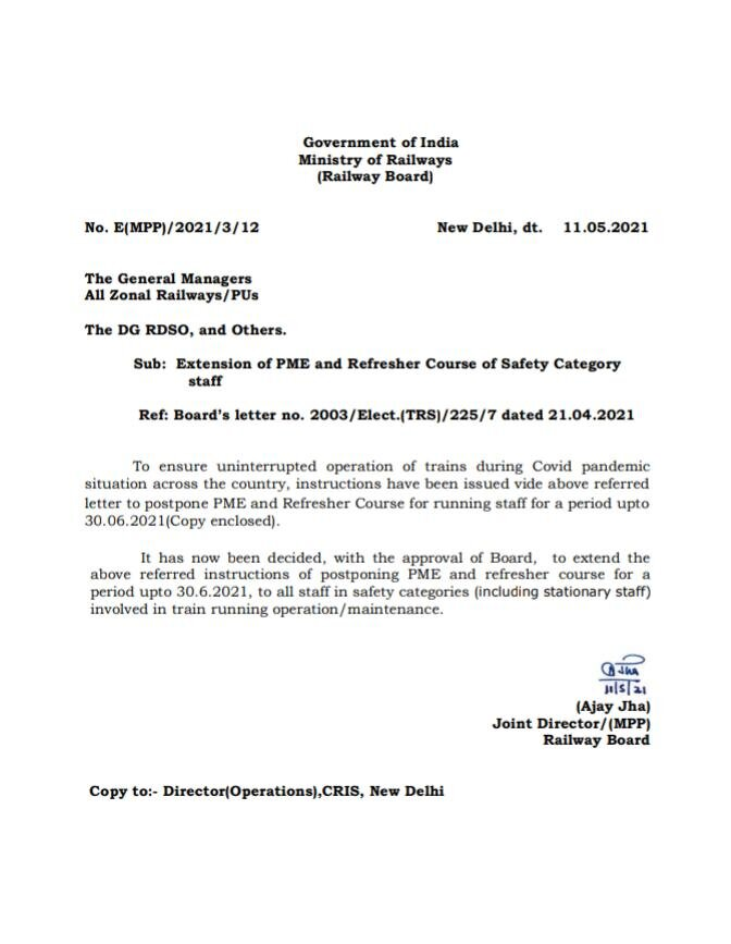 Railway Board Orders PME Extension and Refresher Courses for Safety Category Employees.