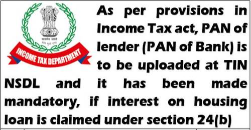 If interest on a home loan is claimed under Section 24(b) of the Internal Revenue Code for the fiscal year2020-21, the lender's (bank's) PAN is required.