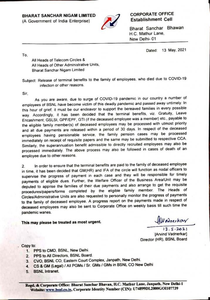 Payment of final benefits to employees' families who died as a result of COVID-19 infection or other causes: Order by BSNL